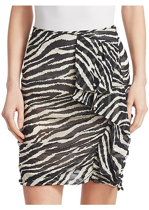 "Image of From the Saks It List: The Mini Skirt. On-trend zebra print skirt with figure-enhancing ruching. Pull-on style. Back zip closure. About 21"" long. Viscose. Dry clean. Imported. Model shown is 5'10"" (177cm) wearing a size 4."