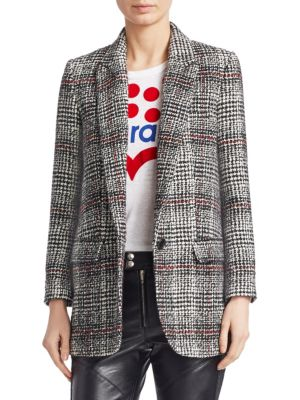 Ice Houndstooth Black White Wool-Blend Jacket, Black Ecru