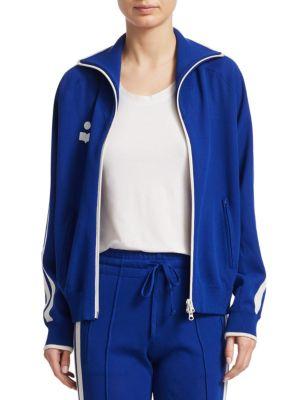 Darcey Viscose Blend Knit Track Jacket, Blue