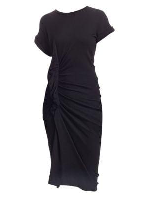 Wool-Blend Ruched Sheath Dress, Black
