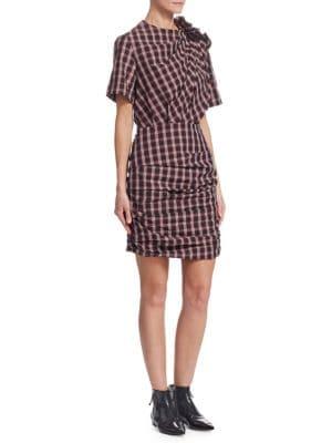 Oria Plaid Cotton-Poplin Mini Dress in Multicoloured