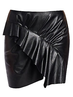 """Image of From the Saks It List: The Mini Skirt A cascading ruffle is a feminine touch on this faux-leather skirt. Exposed back zip closure Asymmetrical hem Polyurethane/viscose Dry clean Made in Portugal SIZE & FIT About 17"""" long Model shown is 5'10"""" (177cm) and w"""
