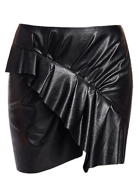 "Image of From the Saks It List: The Mini Skirt.A cascading ruffle is a feminine touch on this faux-leather skirt. Exposed back zip closure. Asymmetrical hem. Polyurethane/viscose. Dry clean. Made in Portugal. SIZE & FIT. About 17"" long. Model shown is 5'10"" (177cm"