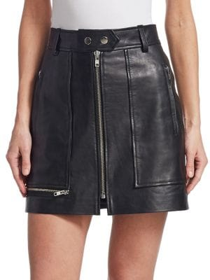 Isabel Marant Étoile Black Alynna High-Waisted Leather Mini Skirt