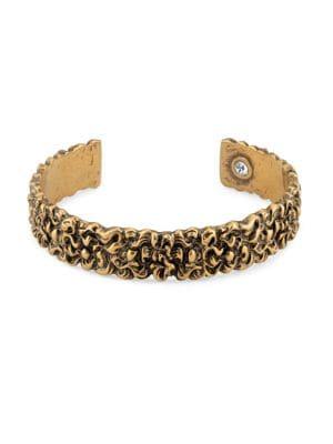 Engraved Lion Mane Metal Cuff Bracelet in Metallic
