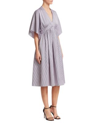 ADAM LIPPES Striped Cotton-Jacquard Dress in Light Blue
