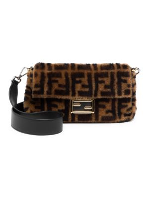 shearling-and-leather-baguette-bag by fendi