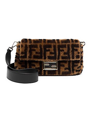 Fendi - Shearling and Leather Baguette Bag - saks.com 64c2e5191901d