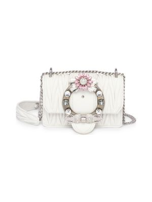 Embellished Leather Crossbody Bag in White