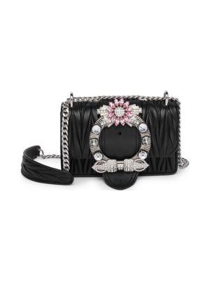 MIU MIU Miu Lady MatelassÉ Shoulder Bag in Black
