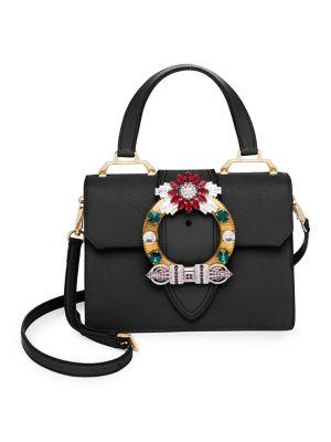 Madras Crystal Embellished Leather Top Handle Bag - Black, Nero