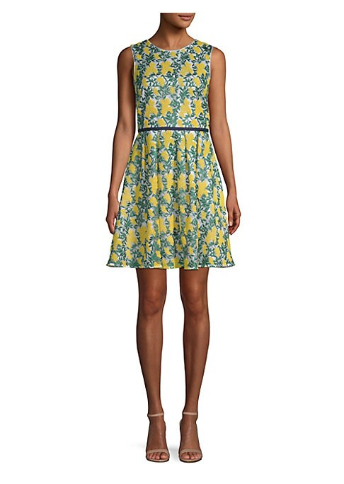 "Image of Allover floral embroidery adds charm to this fit-and-flare frock. Roundneck. Sleeveless. Back zip closure.V-back. Lined. About 37.5"" from shoulder to hem. Nylon. Hand wash. Imported. Model shown is 5'10"" (177cm) and wearing US size 4."