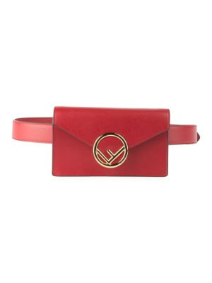 Liberty Logo Calfskin Leather Belt Bag - Red, Strawberry