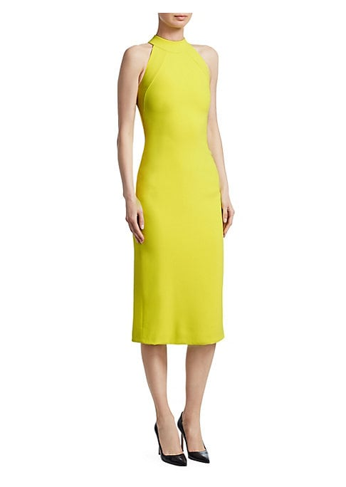 Image of Cut to flatter your every curve, this elevated sheath dress is crafted in stretch crepe. It flaunts a modern banded halterneck and bold lime color, making it a summery edition to any work-wear wardrobe. Halterneck. Sleeveless. Concealed back zip close. Ba