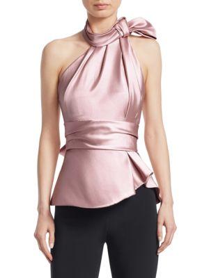 Bow-Embellished Satin-Twill Halterneck Top, Rose