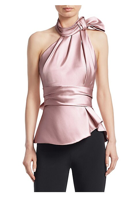 Image of An elegant statement, this glossy satin halter top is finished with a knotted scarf design. Finished in a rose pink-tone, its thick banded waist creates a flattering peplum silhouette. Knotted halterneck. Sleeveless. Side zip close. Pleated bodice. Thick