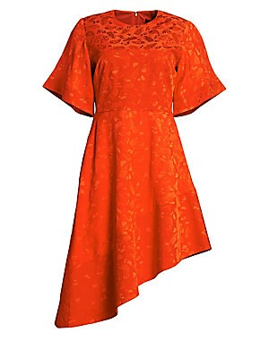 """Image of Cut from an opulent paisley jacquard fabric, this tailored A-line style falls to a slightly flared asymmetrical hem. Roundneck Short sleeves Concealed back zip closure Asymmetrical hem Viscose/cotton Dry clean Made in USA SIZE & FIT About 40"""" from shoulde"""