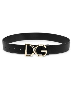 Polished Logo Wide Leather Belt by Dolce & Gabbana