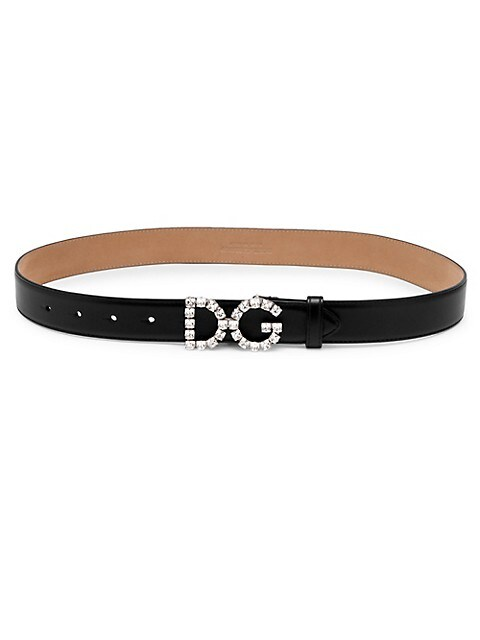Crystal Logo Leather Belt