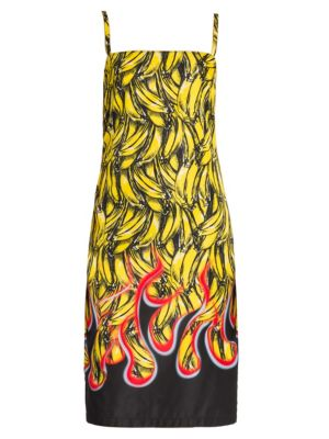 Banana And Flame-Print Gabardine Dress in Yellow