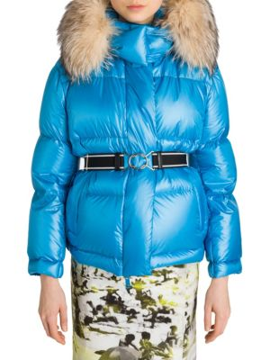 Fox-Fur Trimmed Belted Puffer Coat in Blue