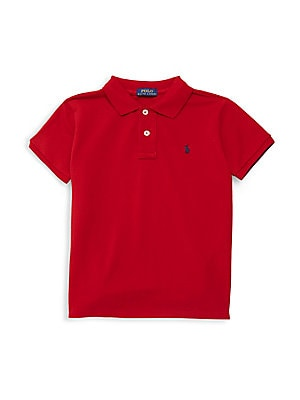 Image of Classic, short-sleeve cotton mesh polo with embroidered polo pony on the chest. Ribbed polo collar and armbands Button placket Machine wash Imported. Children's Wear - Ralph Lauren Boys. Ralph Lauren. Color: Red. Size: Small (8).
