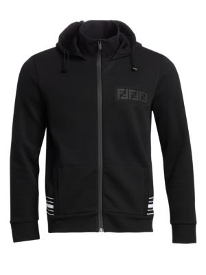 Fendi Cottons Zip Hooded Sweatshirt