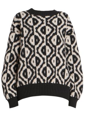 Spot-Intarsia Crewneck Long-Sleeve Merino Wool-Blend Sweater, Black