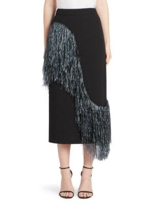 DRIES VAN NOTEN Wave-Raffia Fringe Wool-Blend Midi Pencil Skirt in Anthracite