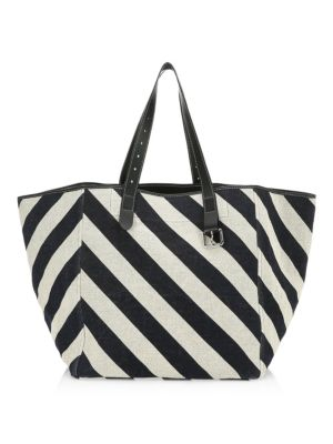 J.W.ANDERSON Belt Leather-Trimmed Striped Linen Tote, Multi