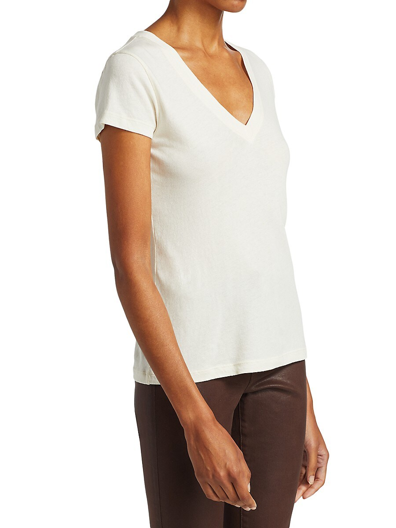 L AGENCE Cottons WOMEN'S BECCA V-NECK COTTON TEE