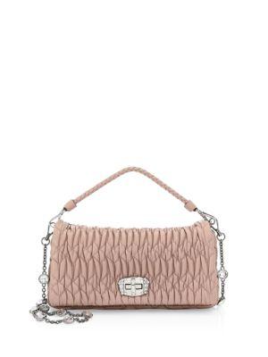 ea56063f82c1 Matelasse Crystal Leather Shoulder Bag In Cammeo