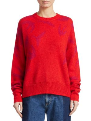 Mcq Alexander Mcqueen Red And Pink Swallow Swarm Sweater, Riot Red