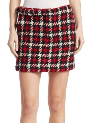 Mcq Alexander Mcqueen Houndstooth Mini Skirt - Red, Small Check