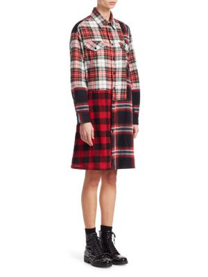 Mcq Alexander Mcqueen Tartan Shirt Dress - Black, Black Multi
