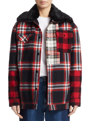Mcq Alexander Mcqueen Red And Black Tartan Boxy Jacket