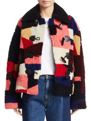 Mcq Alexander Mcqueen Patchwork Shearling Coat in Multicoloured