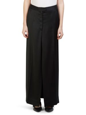 Polished Twill Long Skirt, Black