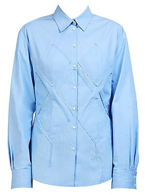 "Image of A work to weekend staple, this refined cotton shirt is enhanced with diamond appliques for added dimension. Point collar Long sleeves Button cuffs Button front Cotton Dry clean Made in Italy SIZE & FIT About 21"" from shoulder to hem Model shown is 5'10"" ("