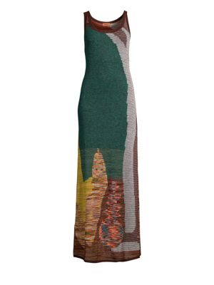 MISSONI Mohair-Blend Intarsia Knit Tank Maxi Dress in Green
