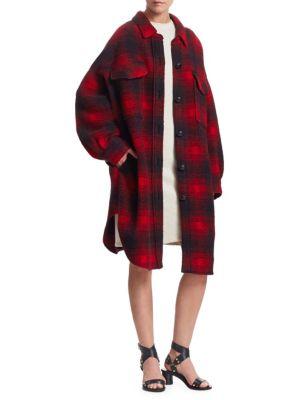Gario Checked Wool-Blend Oversized Shirt Jacket, Black Red