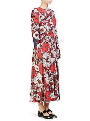 "Image of An illustrative floral print elevates this modern ankle-length dress Roundneck Long sleeves Concealed back zip closure About 45"" from shoulder to hem Viscose Dry clean Made in Italy Model shown is 5'10"" (177cm) and wearing US size 4. Advanced Design - Des"