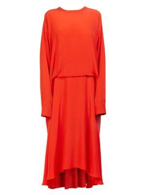 Cedric Charlier Silks Tucked Pleat-Back Midi Dress