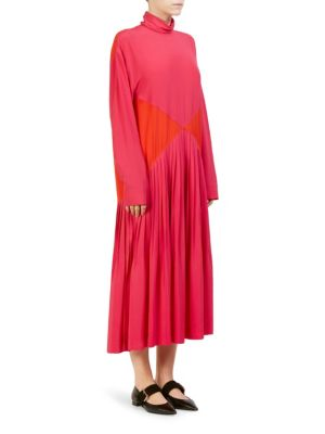 Cédric Charlier Turtle Neck Mid-Length Dress - Pink