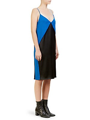 """Image of Bold diamond colorblocking enhances the simple silhouette of this easy slip dress. V-neck Spaghetti straps Concealed back zip closure Triacetate/polyester Dry clean Made in Italy SIZE & FIT About 43"""" from shoulder to hem Model shown is 5'10"""" (177cm) weari"""