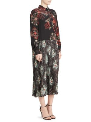 Decuman Long-Sleeve Collared Mixed Floral-Print Silk Midi Dress, Black