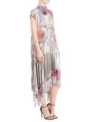 Pleated A-Line Floral Midi Dress, Ecru