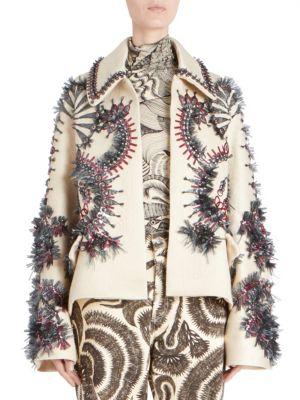 Oversized Cyrstal Embellished Jacket, Ecru
