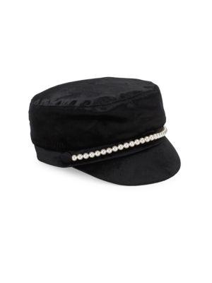 Elyse Black Velvet Cap by Eugenia Kim