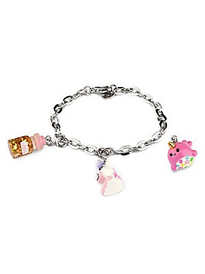 "Image of ONLY AT SAKS This bracelet features interchangeable charms and an included gift box Three 3D charms Silvertone bracelet CHARM IT! gift box Enamel, acrylic, glitter, base metal Charms diameter, about 1"" Adjustable length, about 7.5"" Lobster clasp Made in U"